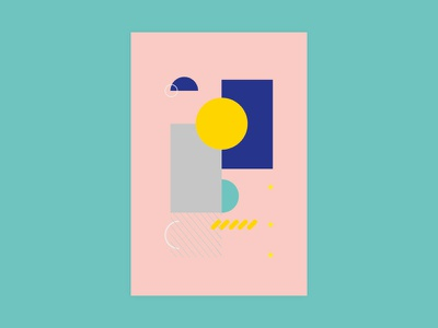 0002 shapes postcard blue white yellow pink ilustration design geometric abstract