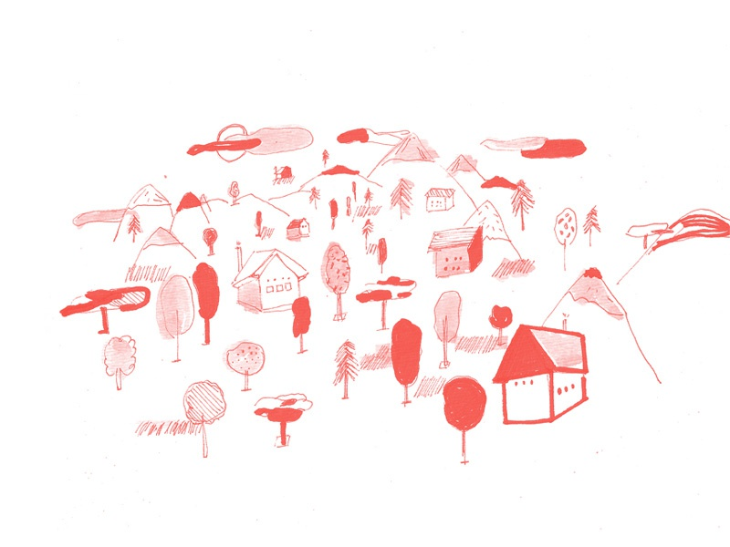 Woods houses design pencil drawing ilustration red nature woods