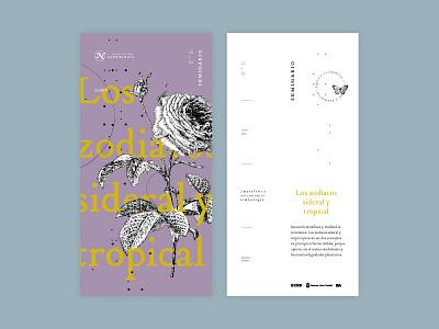 Sidereal & tropical editorial design layout zodiaco fest design branding flyer horoscope type festival astrology