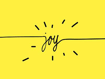 joy postcard type yellow black design lettering joy
