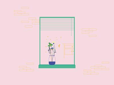 Windows & Flowers art out line design vector art vector pastel colors illustartion flower window