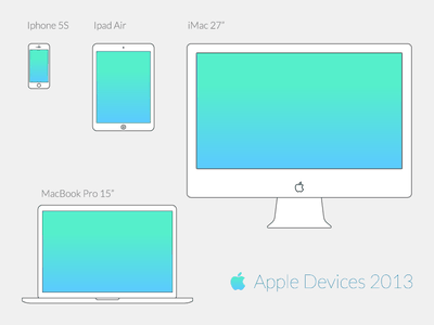 Freebies - Apple Vector Wireframe Devices (2013)  wireframe device vector ipad imac macbook air iphone apple