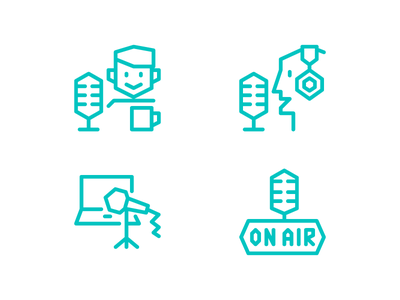 Podcast icons  sketch illustrator minimal angular vector icons
