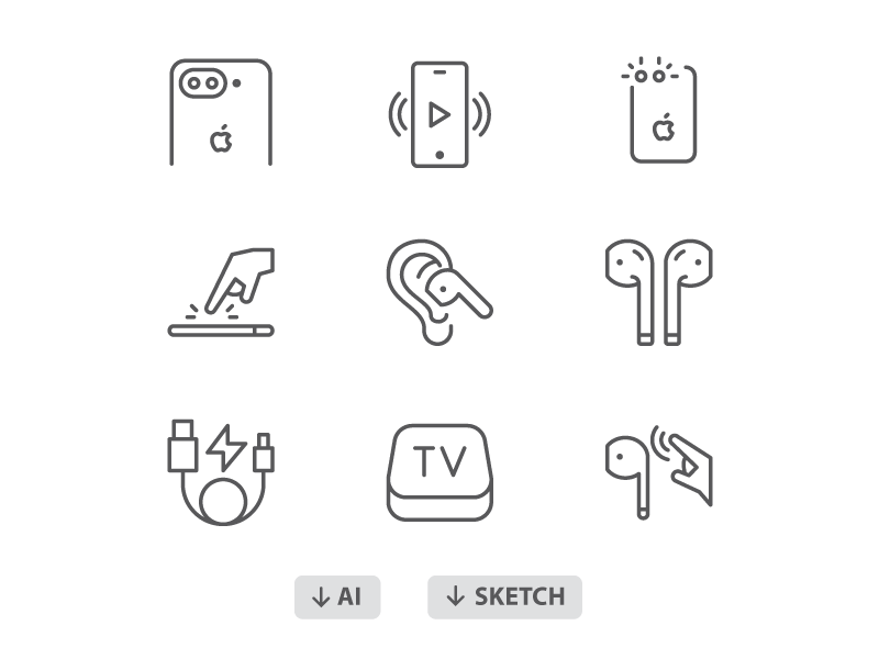 60 Free icons:  iPhone 7, AirPods Icons. touch tv airpods iphone icons icon apple illustrator sketch download freebies free