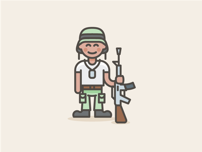 Soldier - Streamline Style army solider marketing illustration sketch illustrator color vector icons