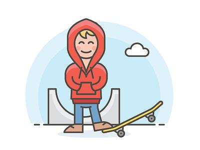 Skater   teenager skater marketing illustration sketch illustrator color vector icons