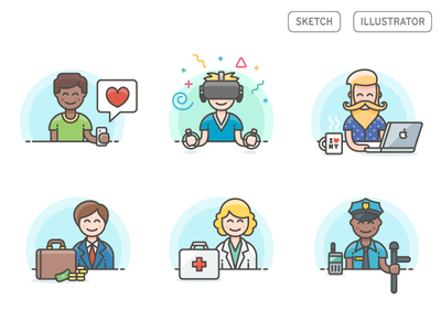 Free Download - Color Vector Characters virtual vr designer people icons icon illustrator sketch download freebies free