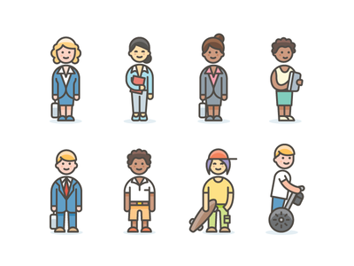 Diversity avatar icons characters avatars illustration sketch illustrator color vector icons