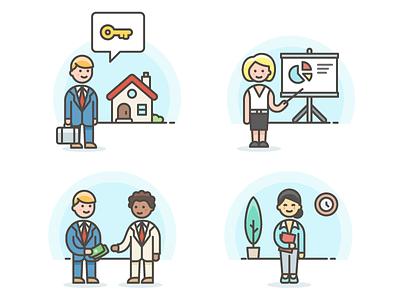 Business avatars asian office estate real marketing illustration sketch illustrator color vector icons