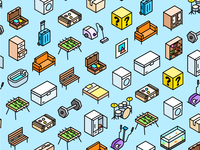 Isometric pattern objects furnitures pattern icon