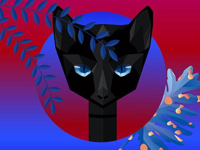 Little Black Cat lowpoly illustration