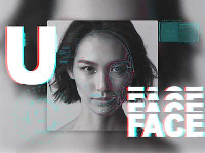 U Face inforgraphic high-tech face recognition