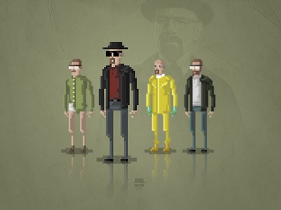 8-Bit Breaking Bad Heisenberg meth drugs 8-bit gaming retro heisenberg jesse pinkman tv breaking bad