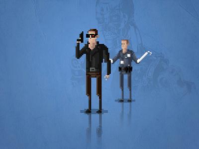8-Bit Terminator connor judgement day t-800 t-1000 schwarzenegger arnold cameron terminator movie gaming retro 8-bit