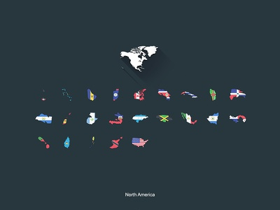 Flat Flags North America gifts design flat map world flags store redbubble north america continent boundaries