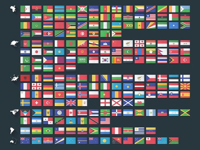 Flat Flags asia oceania africa europe south america continents north america flags world map flat design