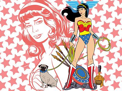 Wonder Woman geek dc comics fan art illustrator vector portrait pug wonder woman