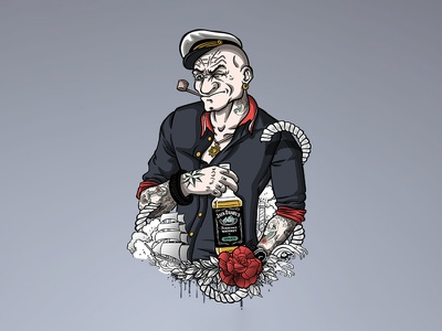 Hipster Popeye lighthouse tattoos jack daniels boat sailor spinach popeye