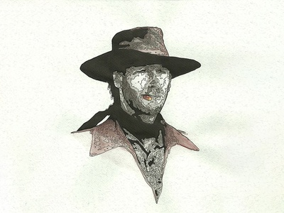 80's Action Hero Eastwood harry diry eastwood clint traditional watercolor india ink action hero movies geek