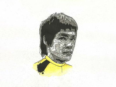 80's Action Hero Bruce Lee fighter martial arts kung fu dragon bruce lee traditional watercolor india ink action hero movies geek