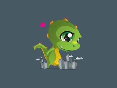 Cutezilla cartoon chibi japanese japan cute kawaii pop dinosaur love city dragon monster