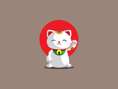 Maneki Neko chibi japanese japan cute kawaii luck cat neko talismanmaneki fortune welcoming welcome