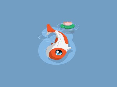PotsuPotsu pond pad lily fish carp koi cartoon chibi japanese japan cute kawaii
