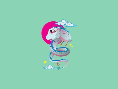 Ryo cartoon chibi japanese japan cute kawaii pink cloud star moon white dragon