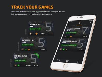 App Marketing | PitchUp - Social Football soccer football ios app mockup iphone branding hero banner invite friends website concept website marketing icons carousel ui card