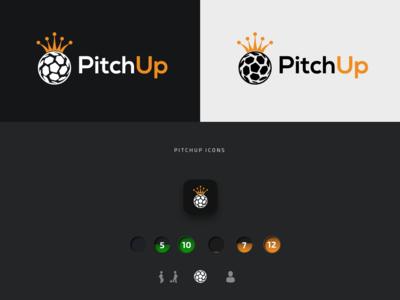 Logo and Branding | PitchUp - Social Football soccer illustration football colour palette social media banner typography graphic desgin app icon design icon branding logo