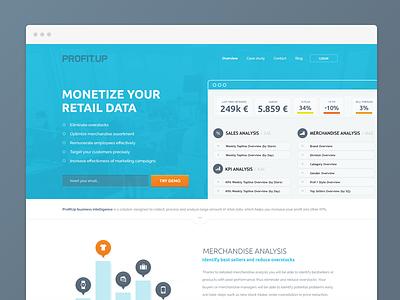 Profitup homepage profitup business intelligence bi app homepage home website retail illustrations animation