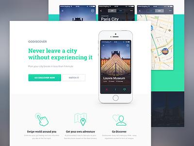 GoDiscover Travel App go discover godiscover mobile ios app travel landing page