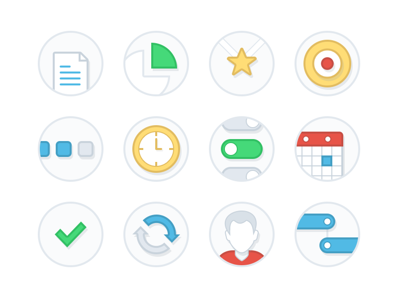 Feature Icons icons feature research segments competition strategy priority release flat