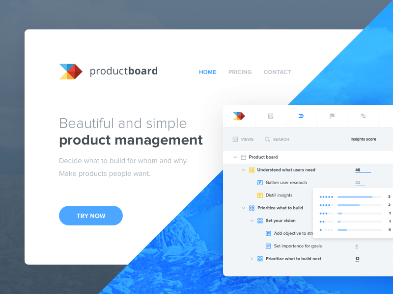 productboard landing page platform management product ui interface web responsive homepage page landing