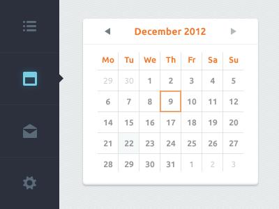 Calendar date web schedule cal picker dashboard calendar clean app vertical menu