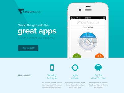 vacuumapps web vacuum web design presentation colors flat clean clear ios iphone apps development