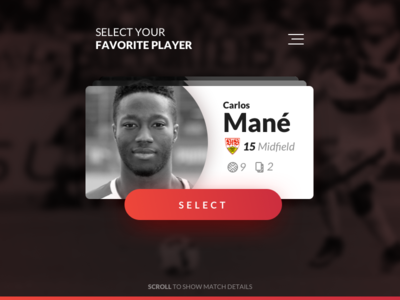 User Profile #DailyUI card football soccer player profile user