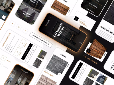Charred wood mobile website UI wooden animation website mobile ui wood cepixel product page organic black