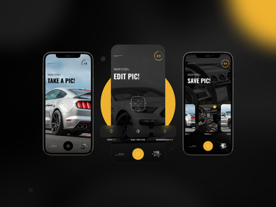 Photo Editor - Car Action App screen camera photography picture filters car ux ui dark app cepixel mobile vehicel mustang black editor photo car auction