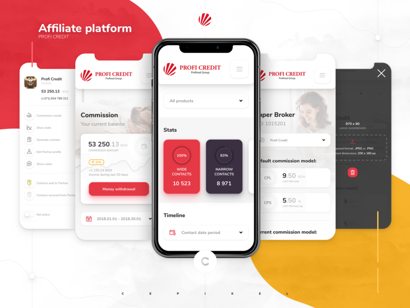 Affiliate Platform for Loan Company cepixel bank banking webapp ui application webdesign statistics stats mobile affiliate loan