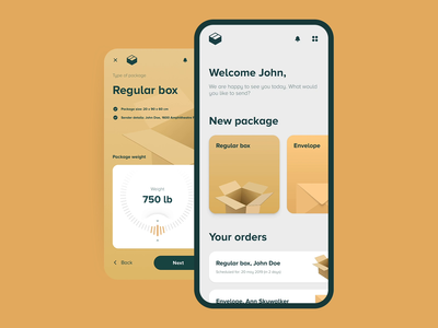 Personal shipping experience cepixel ui behance mobile app packing delivery shipping