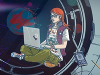 Illustration for a blog post- Women in tech and science