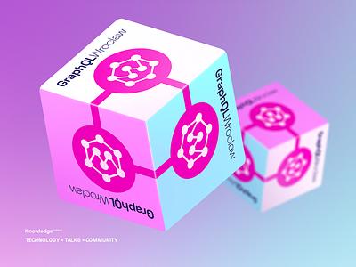 GraphQL Wroclaw - 360' Sticker Cube sticker icon logo branding typography vector quality mirumee design