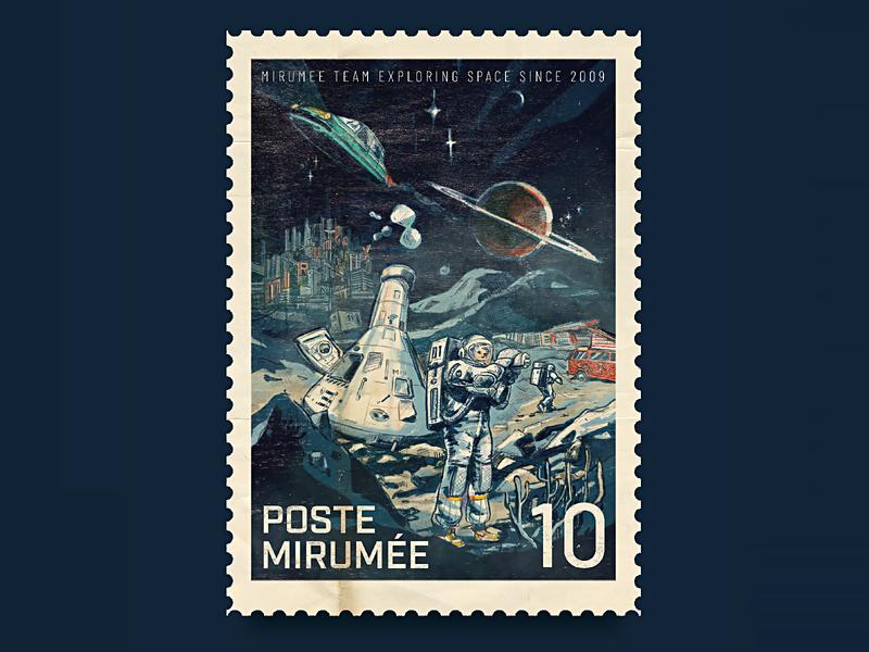Mirumee Post-Stamp Artwork - Xth anniversary sketch branding logo typography design artwork handmade drawing mirumee illustration