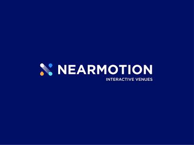 NEARMOTION logo design interactivedesign interactive venues navigation technology logo it logo logo