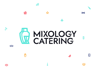 Mixology Catering icon branding design colorful logo innovative platform design platform event coctail