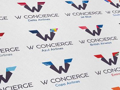 W Concierge airline branding logo design logo palette colors guide brandbook