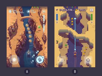 Need help. A or B. game flying shooting scroll shooter ios ipad iphone pixel art pixel perfect pixelart