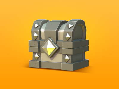 Iron Chest 2d 3d illustration chest ios game ui icon