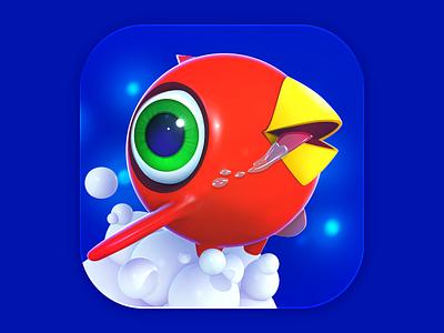 Red Bird  2d 3d illustration bird ios game ui icon